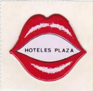 SPAIN MADRID HOTELES PLAZA VINTAGE LUGGAGE LABEL