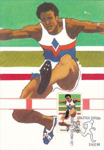 Hurdles Stamp 1984 Summer Olympics Los Angeles California