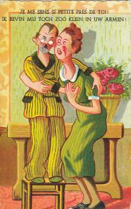 Comic couple caricature small man tall woman humour early postcard