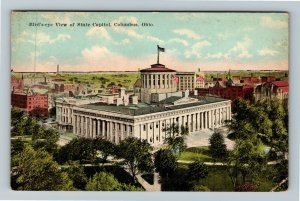 Columbus OH-Ohio, Birds Eye View Of State Capitol, Vintage Postcard