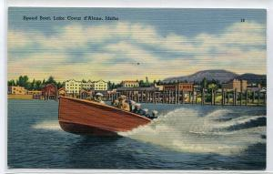 Speed Boat Lake Coeur d'Alene Idaho 1950s linen postcard