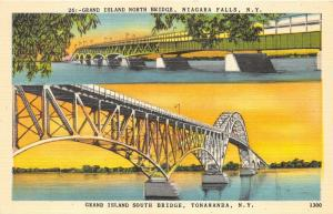 Niagara Falls New York~Grand Island North & South Bridges @ Sunset~1940s Pc