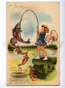 146601 1 April Dressed FISH Fishing Girl COMIC Vintage ttinsel