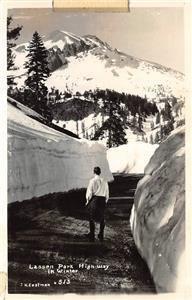 RPPC LASSEN PARK HIGHWAY Winter Snow Scene ca 1940s Vintage Eastman Postcard