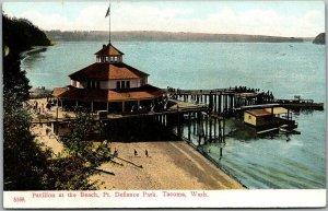 Tacoma, Washington Postcard Pavilion at Beach, POINT DEFIANCE PARK c1910s PCK
