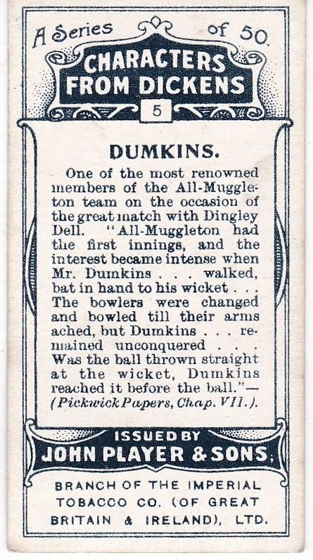 Cigarette Cards Players Characters From Dickens No 5 Dumkins
