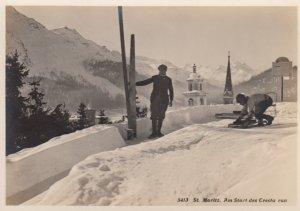 RP: St Moritz. Am Start des Cresta run , Skiing , 30-50s