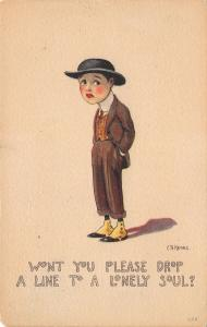 EB Kemble~Dandy Boy in Spats & Derby Hat~Please Drop a Line to Lonely Soul~1917