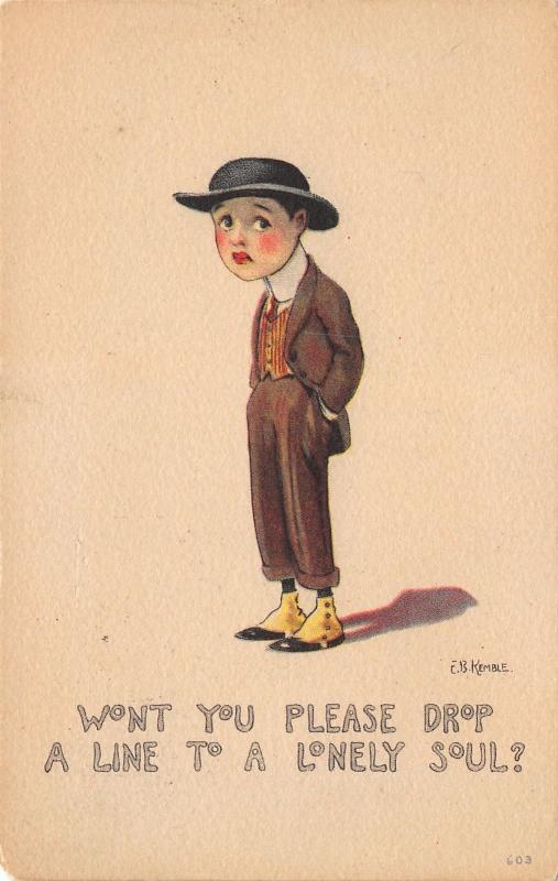 EB Kemble~Dandy Boy in Spats & Derby Hat~Please Drop a Line to Lonely Soul~1917