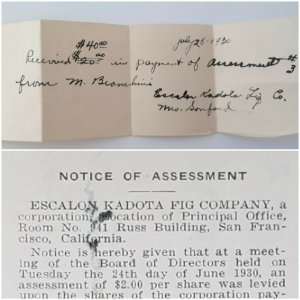1930 San Francisco Escalon Kadota Fig Co. Notice Assessment Hand Written Receipt