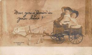 Studebaker Goat Pulling Wagon Children Advertising RPPC Postcard