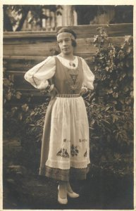 Social history early photo postcard lovely young lady folk type dress fashion