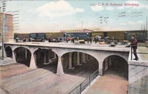 Canada Winnipeg Train On Bridge Over Canadian Pacific Railway Subway 1909