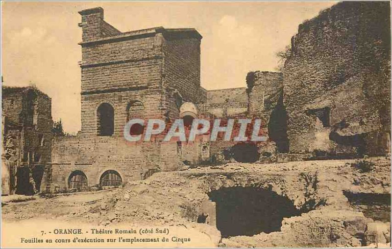 Postcard Ancient Orange Theater Romain (South Coast) Excavations under Execut...