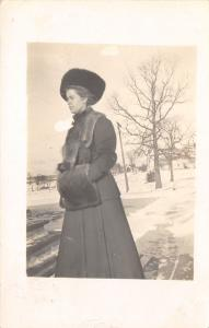 Hillsboro Wisconsin~Eva In Fur Coat & Muff~Russian Hat~Snow~1910 RPPC