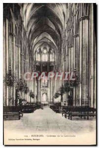 Old Postcard Bourges Interior of the Cathedral