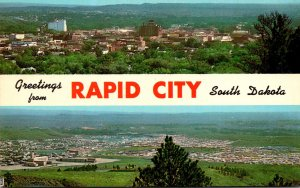South Dakota Rapid City Greetings Showing Downtown Business Section and Resid...
