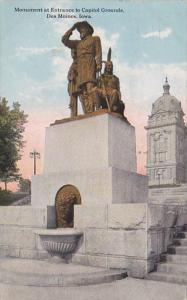 Iowa Des Moines Monument At Entrance To Capitol Grounds 1920 Curteich