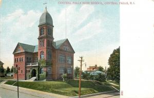 Central Falls Rhode Island~High School on Little Hill~Steps Up Lawn~1905 PC