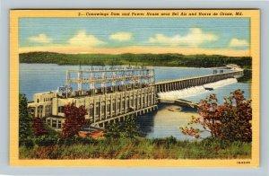 Conowingo Dam, Power House, Vintage Bel Air Maryland Postcard `
