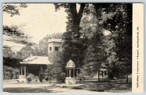 Springfield Illinois~Oakridge Cemetery Chapel~Wishing Well~1912 B&W Postcard