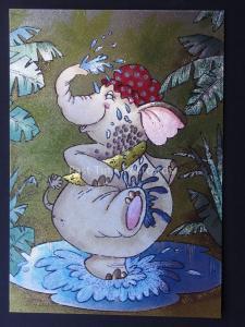 ELEPHANT HAVING A BATH c1980's by F J Warren DUFEX FOIL Postcard 501936