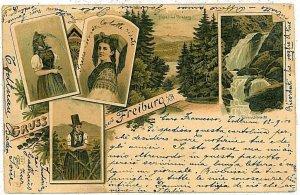 Ansichtskarten Schweiz VINTAGE POSTCARD: SWITZERLAND - GRUSS AUS: FREIBURG 1900