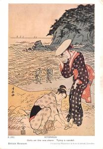 Japan Old Vintage Antique Post Card Kiyonaga Girls on Sea Shore trying a sand...