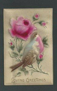1909 Post Card Loving Greetings W/Bird & Flower Flocked & Embossed