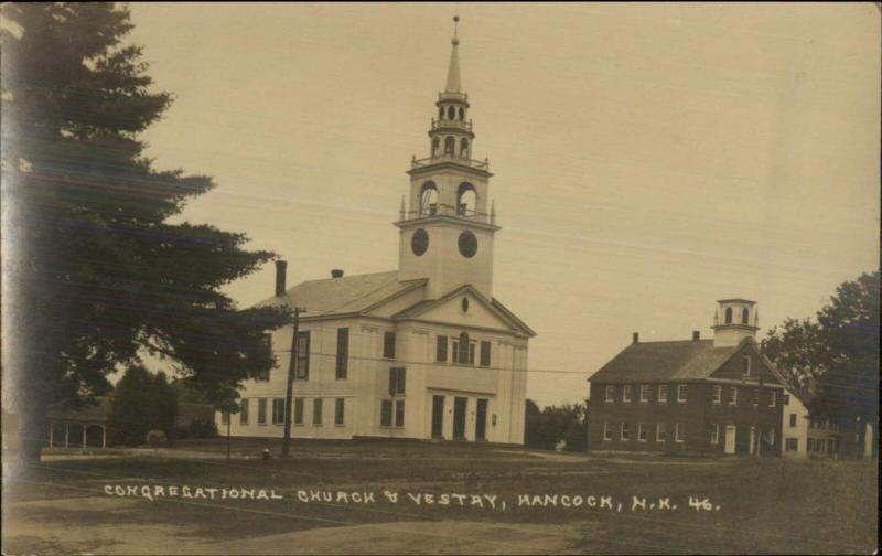 Hancock NH Church & Vestry c1910 Real Photo Postcard