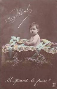 1er Avril April Fool's Day Baby In Basket With Fish 1910