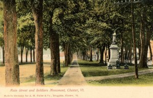 VT - Chester. Main Street and soldiers' Monument