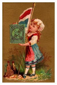 Pays-bas   Stamp, Flag, Girl   Victorian Philatelic Trade Card