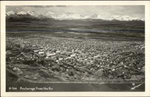 Anchorage AK From the Air R-504 Real Photo Postcard
