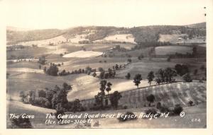 Keyser Ridge Maryland~Birdseye~The Cove~Oakland Road~Farm House~Fields~1940 RPPC