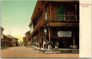 Vintage 1900s Panama City Postcard Street Scene La Plata Cantina View - UNUSED