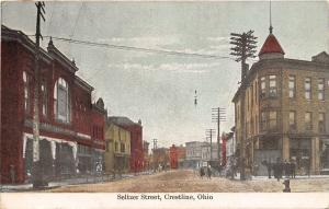 Crestline Ohio~Seltzer Street~Jake &?~Geiger~Stores~Dirt Road~Hitching Post~1909