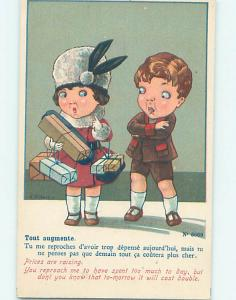 Pre-Linen foreign signed FASHION - FRENCH GIRL IN FANCY HAT WITH GIFTS J4997