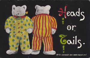 Heads or Tails, Teddy Bears in pajamas, one showing front one showing back, P...