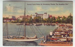 PC45 JLs postcard 1942 st petersburg fl central yacht basin