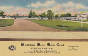 Kentucky Middletown The Middletown Manor Motor Court Curteich sk1332