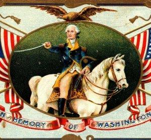 c 1914 Patriotic Postcard George Washington Horseback Blueskin Flags Eagle