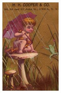 Child  on Mushroom, frog  H.H.Cooper Utica New York  Victorian  Trade Card