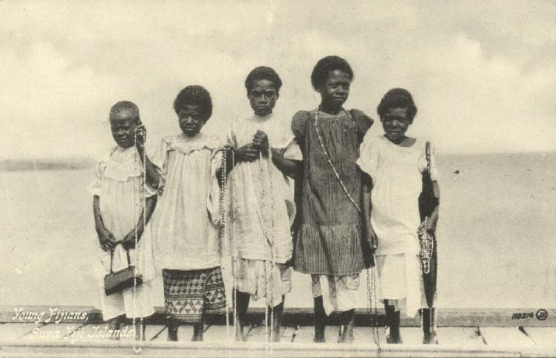 fiji islands, SUVA, Native Young Fijians (1910s)