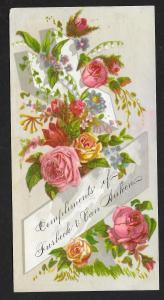 VICTORIAN TRADE CARD Furbeck & Van Auken Flowers on Cross