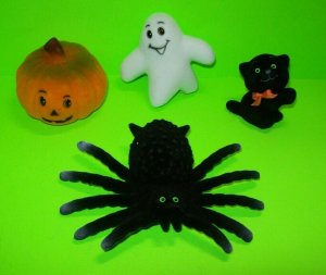 Halloween Flocked Toys Black Cat Widow Spider Ghost NOS 1960s Hong Kong Vintage