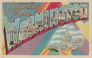 Large Letter Greetings, WASHINGTON, 1930-40s