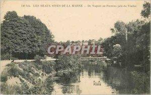 Old Postcard Les Beaux Sites Marne De Nogent Perreux taken at the Viaduct