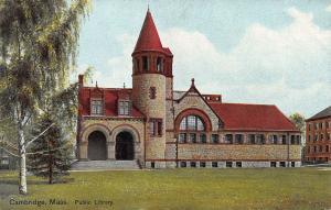 Public Library, Cambridge, Massachusetts, Early Postcard, Unused