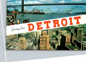 Michigan Detroit Greetings Showing Waterfront and Skyline